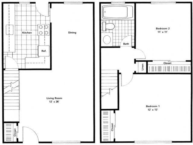 View floorplans of Village Green of Southgate Apartments studio  1 and 2  bedroom apartments for rent located at 16700 Quarry Road  Southgate  MI  48195. 2 Bedroom Townhome   Floor Plan of Property Village Green of