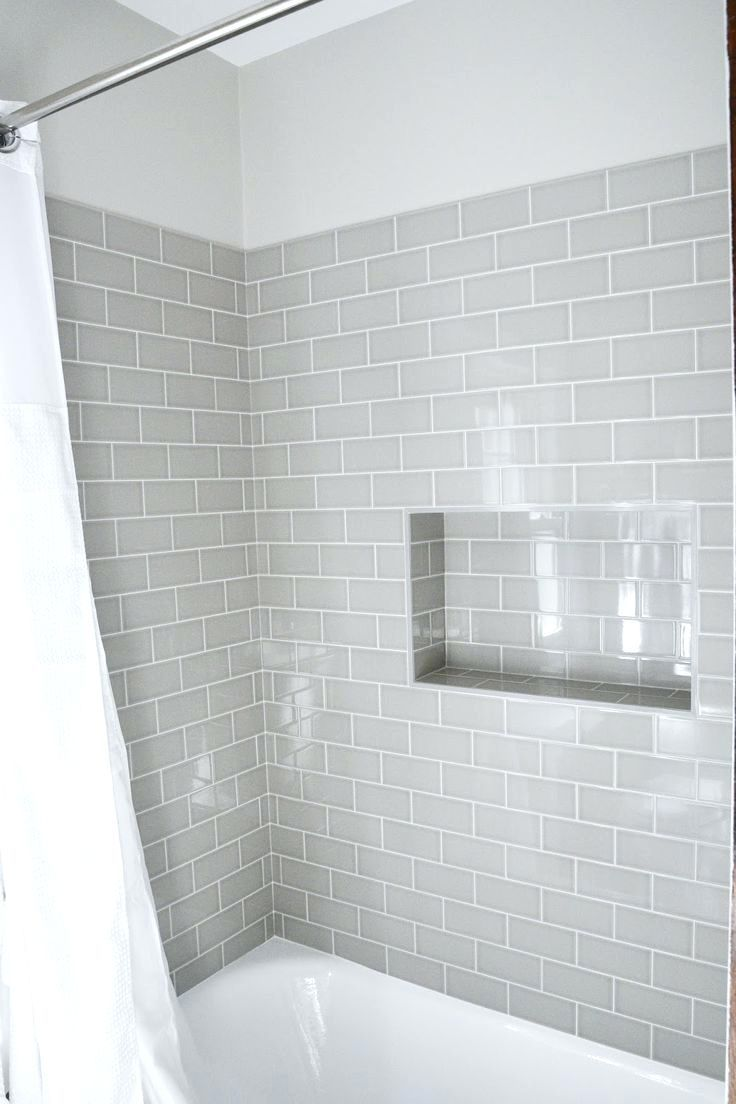 Tiles Modern Traditional Bath Gray Subway Tiles Shower Niche