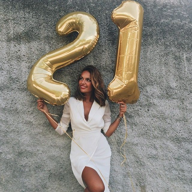 21 Birthday Balloons 40th 21st Gold Number Girl