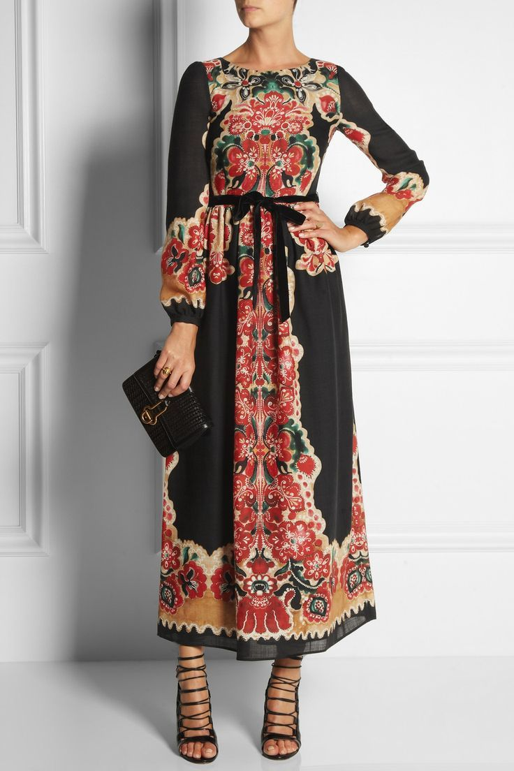 Red valentino printed wool maxi dress frou frou pinterest