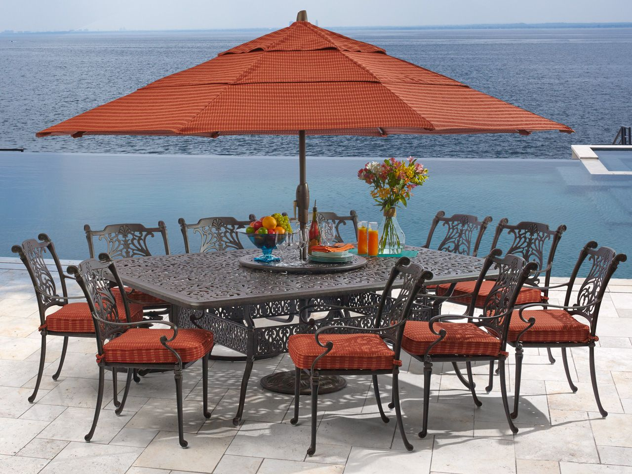 Naples 11 Pc Cast Aluminum Dining Set Fortunoff Backyard Store Patio Dining Set Outdoor