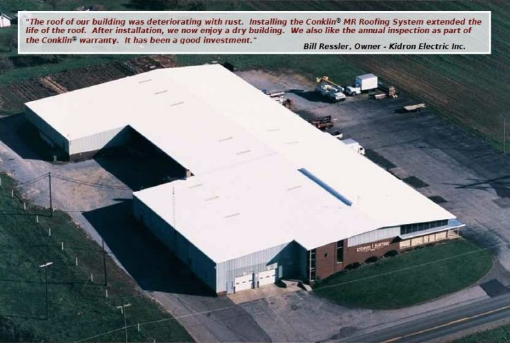 Photograph Used To Example The Results Of Using The Metal Roof Mr Restoration Roofing System On A Commercial Building Roofing Systems Building Metal Roof