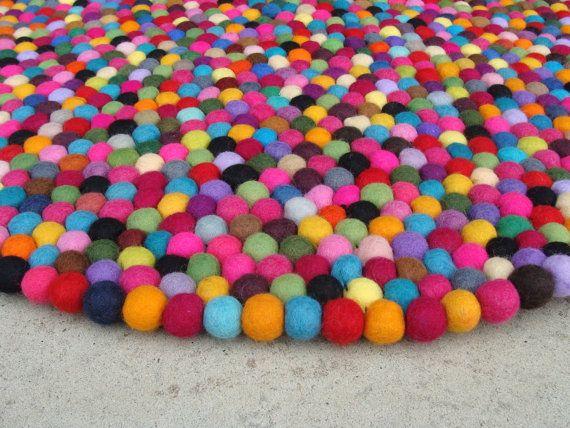 Felt Ball Rug Freckle Pom By Silkroadmerchantt On Etsy 59 00