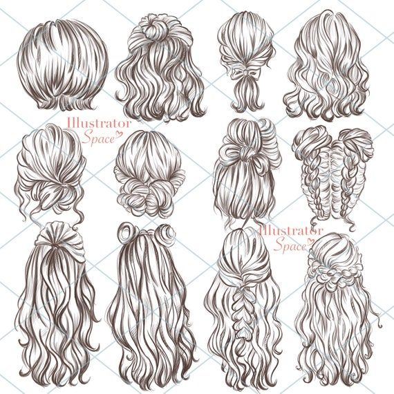 Hairstyles clipart hair set DIGITAL DOWNLOAD Custom hairstyles Hair clip art Character hair Fashion girl gift Planner Clipart, 12 png images