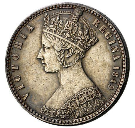 The 'Godless' florin, 1849 - Queen Victoria - so called due