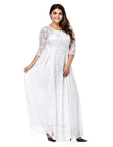 6173656508 Esprlia Women s Plus Size Lace 3 4 Sleeve Evening Party F... https