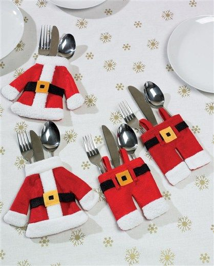 6 Festive Santa Christmas Cutlery Holders Table Decoration Place Setting From UK