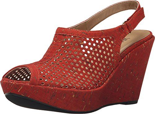 9057793c35 Vaneli Womens Emmalee Red Leol Cork Sandal 75 N AA ** Check out the image  by visiting the link.