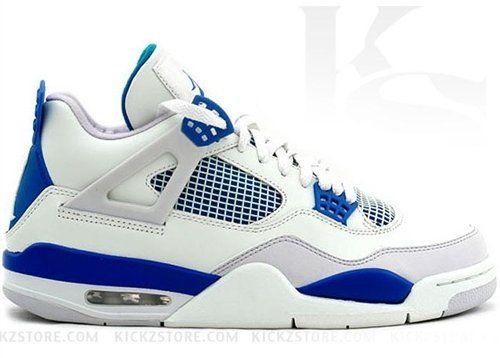 hot sale online aa32c 46315 For sale Kids Air Jordan 4 Retro GS 408452105 Wht Military Blue Grey  Basketball Sneaker (Kids 4.5 EUR 36.5, Wht Military Blue Grey)