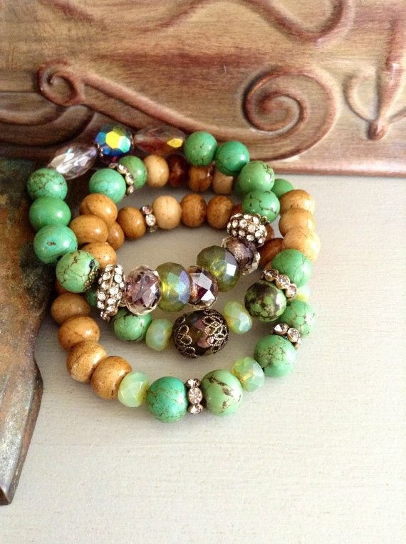 Turquoise Stacking bracelet set // Czech by CountryChicCharms, $68.00