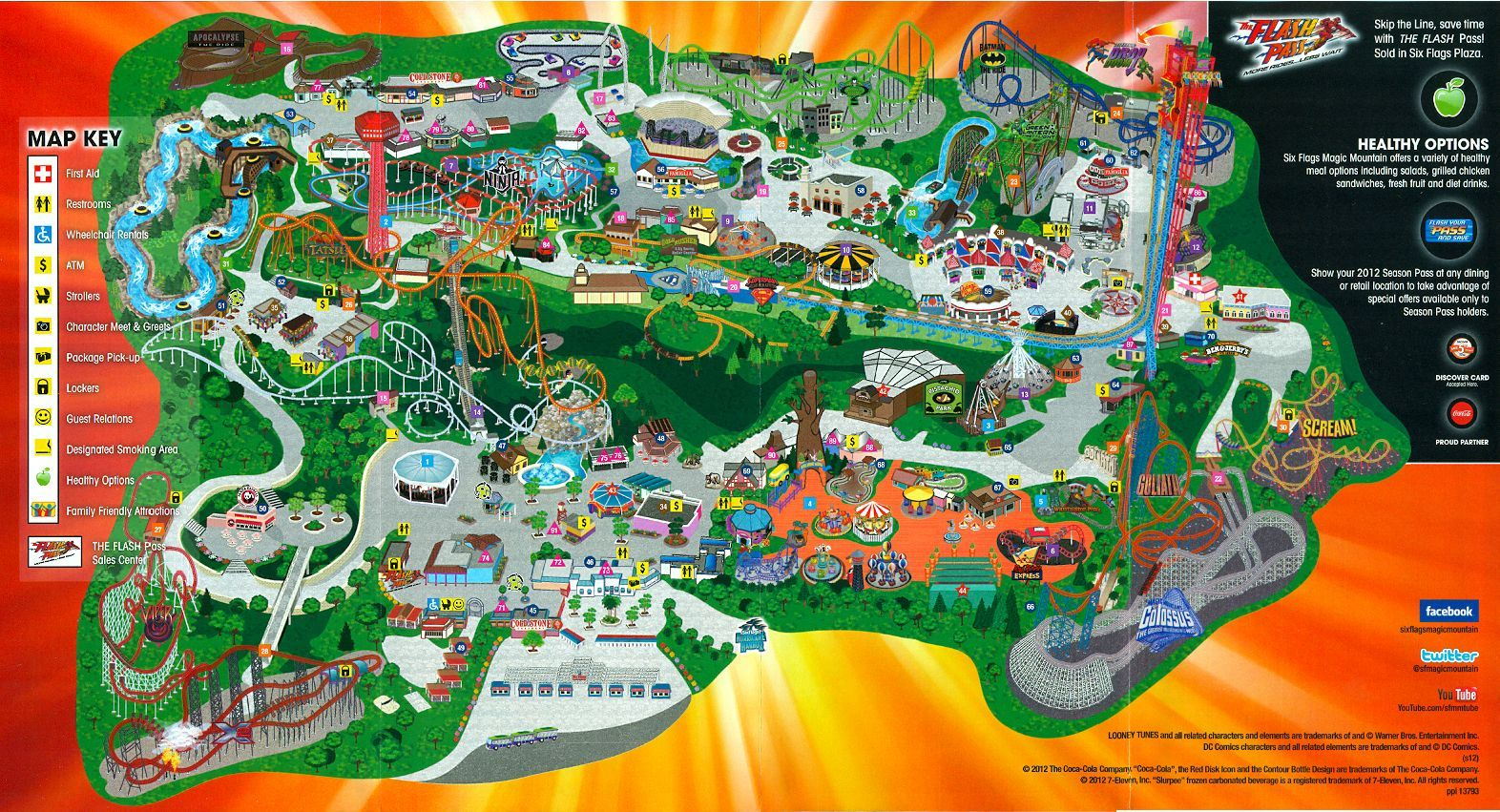 2012 Six Flags Magic Mountain Map Guide The Coaster Guy Six Flags Its My Birthday Theme Park
