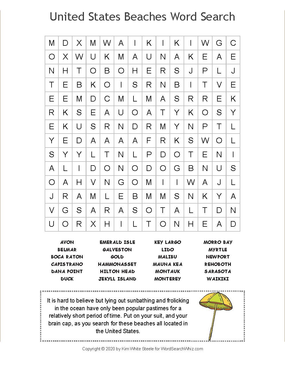 How Many Of The United States Beaches Can You Locate In This Word Find Puzzle You Can Play Online Or You Can Print The Puzzle Beach Words Word Find The Unit [ 1287 x 995 Pixel ]