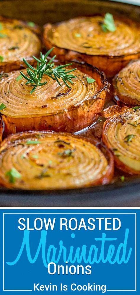 These Marinated Slow Roasted Onions get soft and creamy on the inside and caramelize on the outside roasting in a bath of red wine vinegar, brown sugar and spices. Mouthwatering aroma! #roasted #marinated #onion via @keviniscooking #vegetablessides
