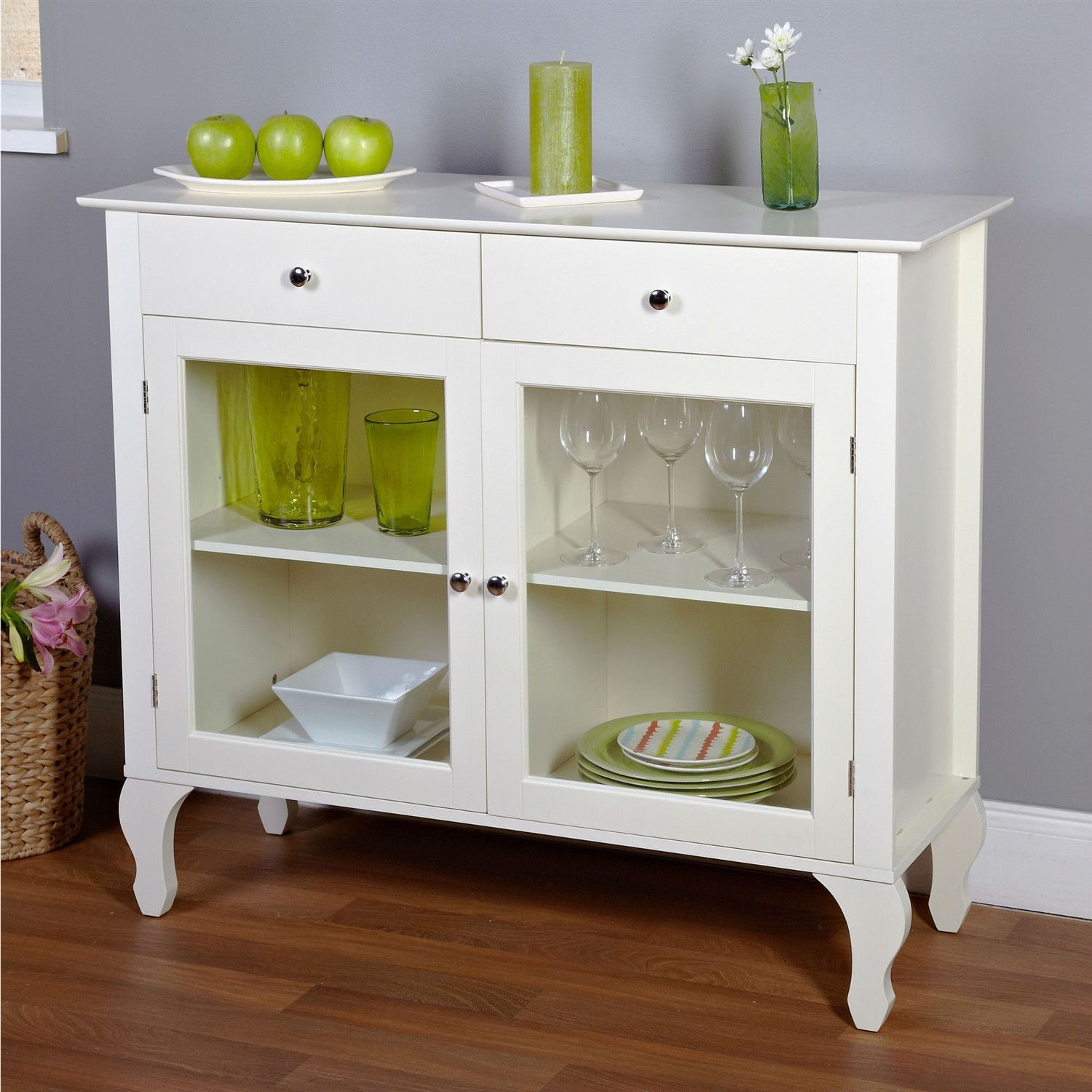 Glass console table decor  Antique White Sideboard Buffet Console Table with Glass Doors