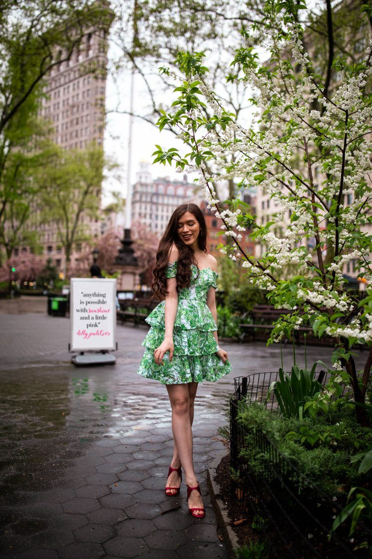 c894810264c Eva Phan of Eva Darling NYC preppy style blogger in Lilly Pulitzer Cicely  Off the Shoulder