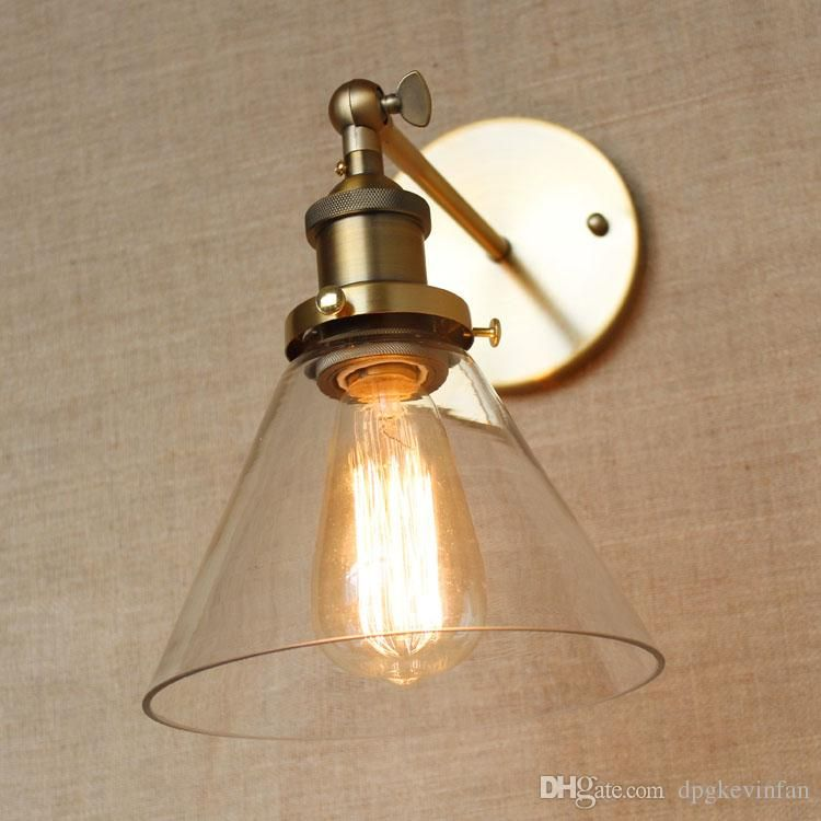 Discount art deco bedside wall lamp with glass cone shade