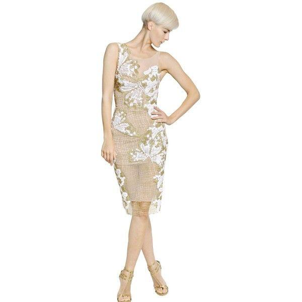 BLUMARINE Butterfly Embroidered Cotton Net Dress