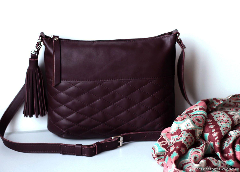 eacc49c5f352 Кожаная сумка на плечо. Бордовая кожаная сумка. Темно-вишневый,марсала -  купить