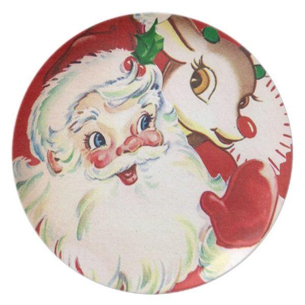 Retro Vintage Christmas Reindeer Santa dinner Melamine Plate  sc 1 st  Pinterest & Retro Vintage Christmas Reindeer Santa dinner Melamine Plate ...