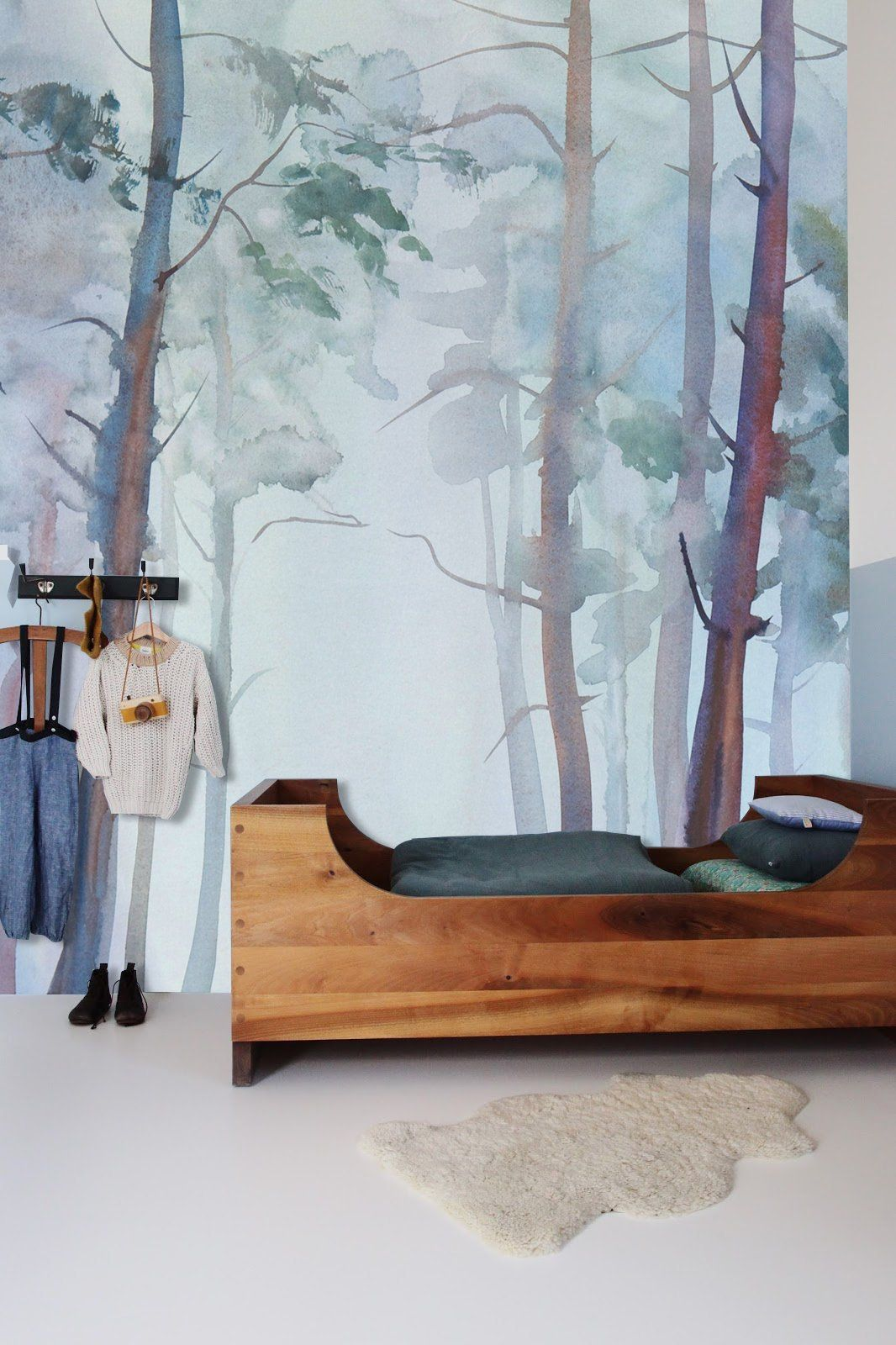 Watercolor Forest Mountain Wall Mural, Enchanted Forest