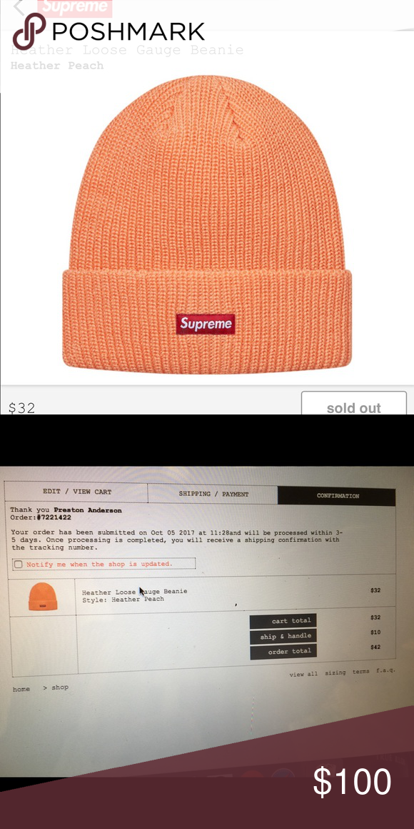 53c5f82219a Supreme heather loose gauge beanie Confirmed order brand new item will ship  same day it s received from supreme Supreme Accessories Hats