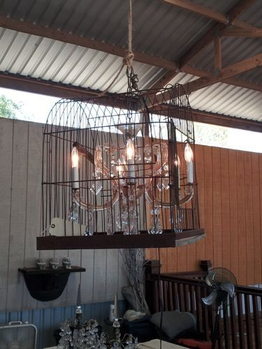 pinterest diy birdcage lighting   DIY light: chandelier in a bird cage   Junk Gypsy Style
