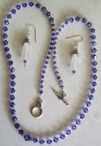 Tanzanite Swarovski Necklace and Earrings $12.00
