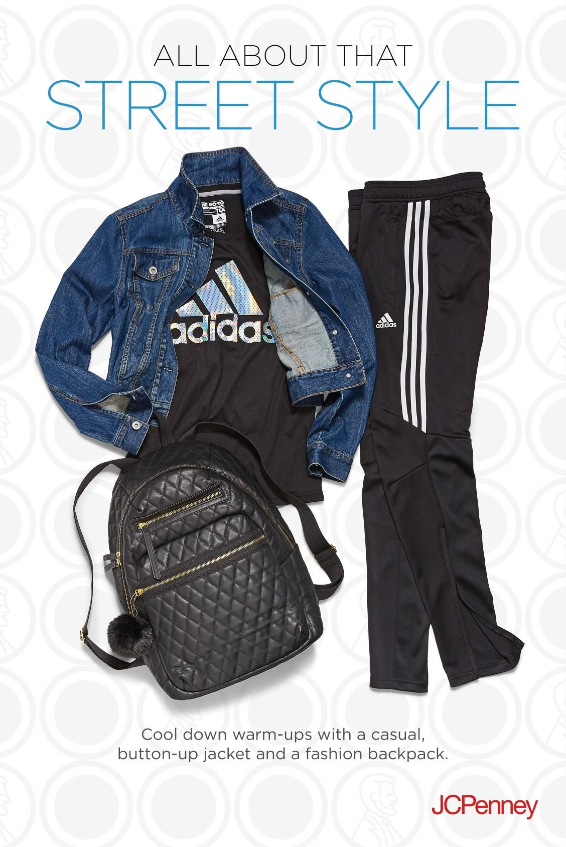 23eb90ec695d Pair adidas track pants with an adidas tee and layer with a quilted backpack  and denim jacket for the ultimate Adidas ...