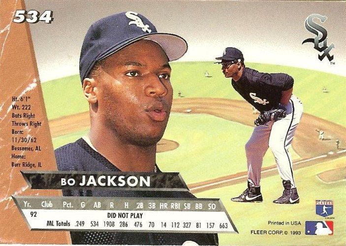 Vintage 1993 Fleer Ultra Bo Jackson 534 White Sox Baseball Card