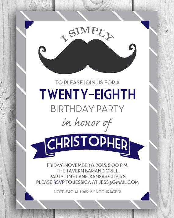 Printable DIY Mustache Birthday Party Invitation Bash