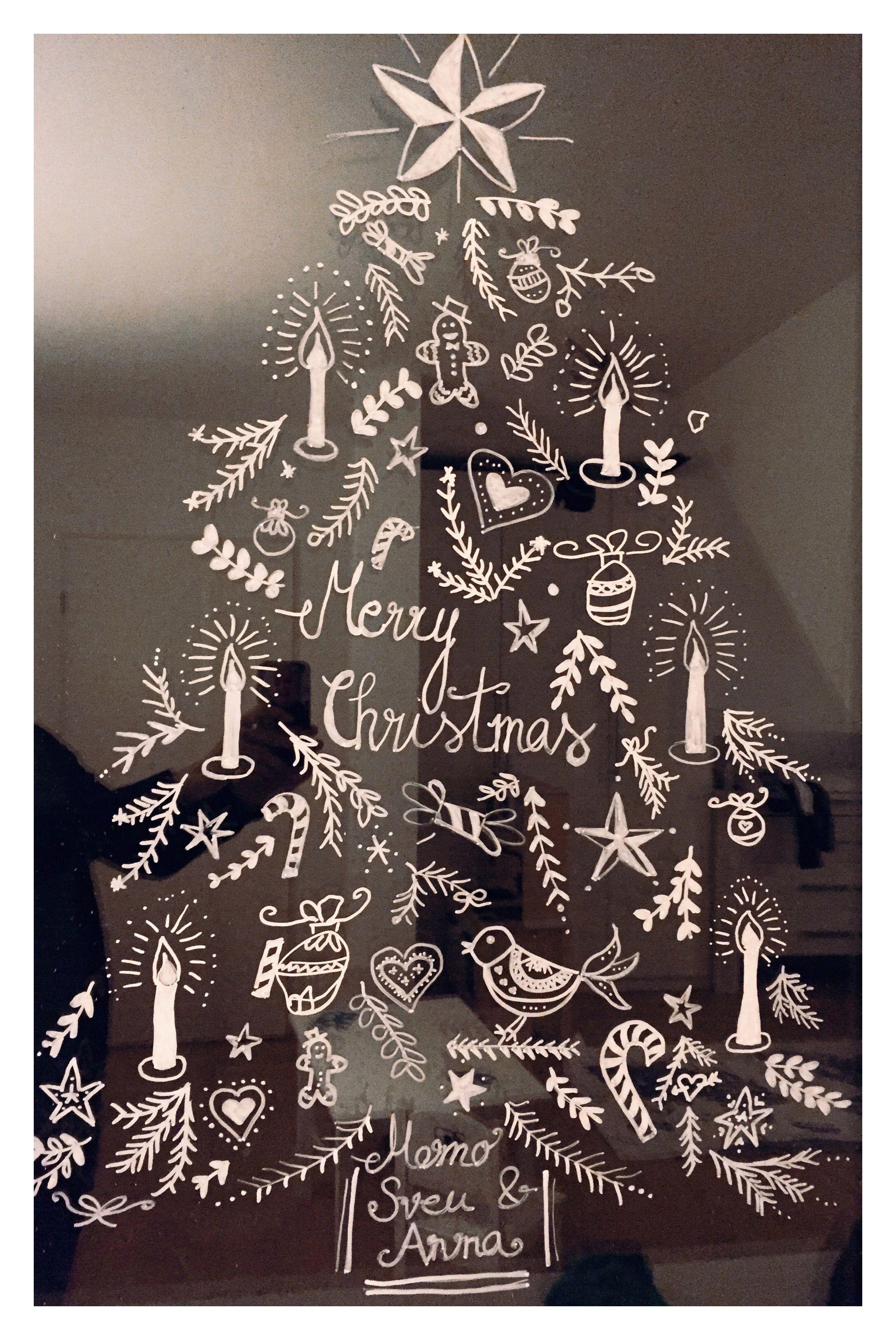 Weihnachtliches Fensterbild Mit Kreidestift Gemalt Danke Happy Serendipity Ging Wirklich Schne Fensterbilder Weihnachten Weihnachten Fensterdeko Weihnachten