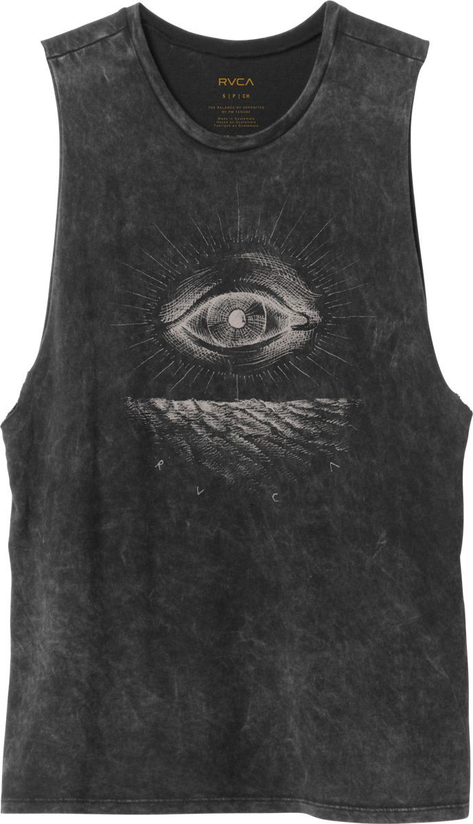 3409f7e0 The RVCA Eye See is a boyfriend fit, muscle tee with an acid wash. The tee  has artwork by ANP artist Benjamin JeanJean screenprinted at the front and  h.