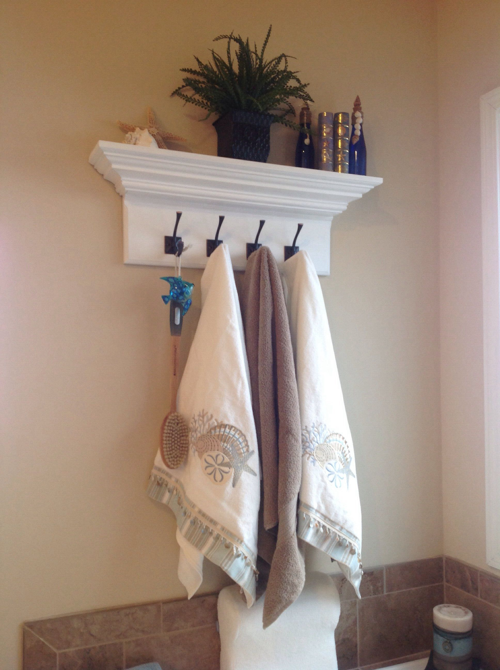 """30"""" custom crown molding floating wall shelf with 4 large"""