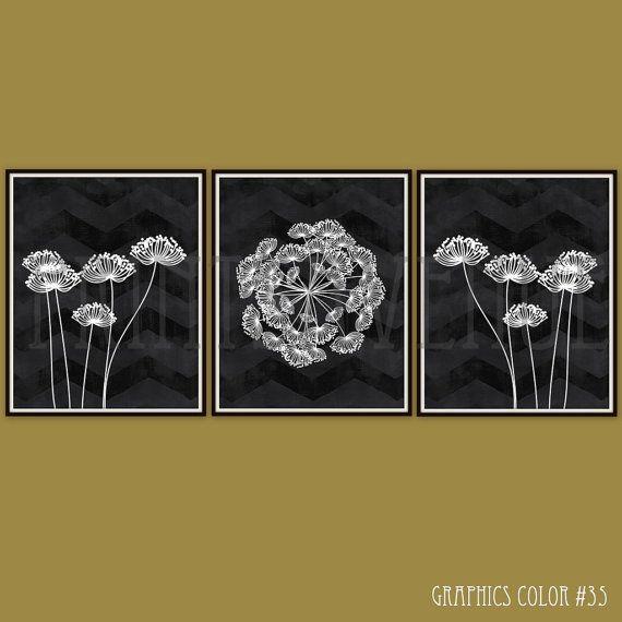 FLOWER Art Prints, CHEVRON Wall Art, MODERN Floral Wall Decor, Black ...