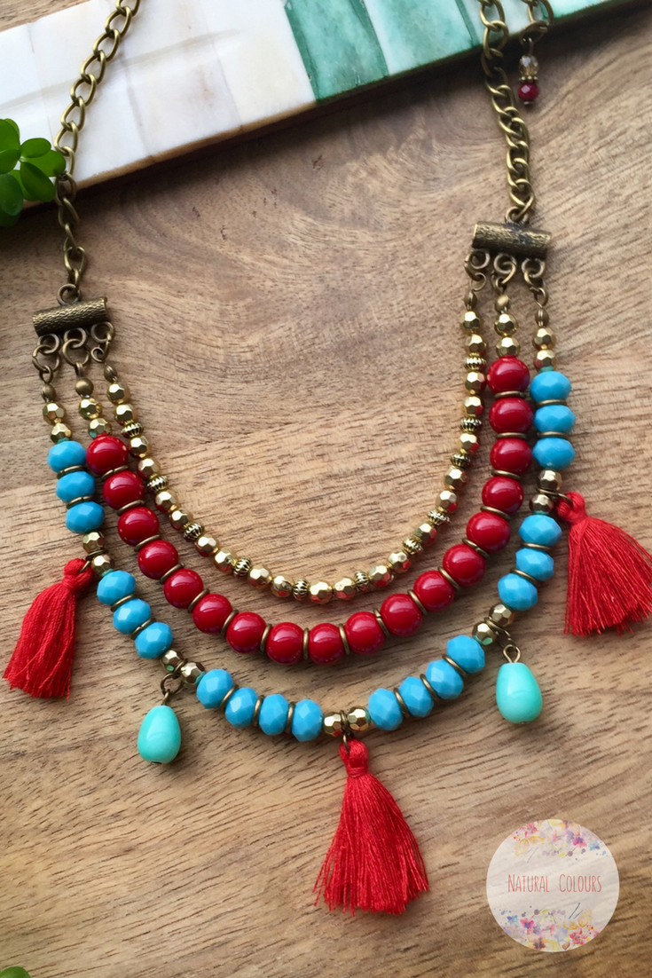 Layered Necklace Tassel Necklace Boho Necklace Red & Turquoise Necklace Statement Necklace Bohemian Jewelry Short Necklace Gift for her #shortlayers