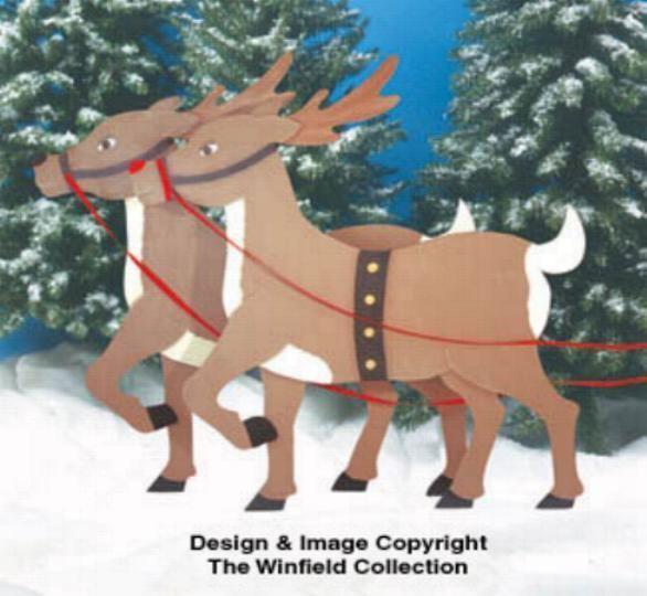 Santa Sleigh Reindeer Plywood Patterns Christmas Moose