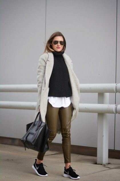 6 Ways To Dress Up Your Tennis Shoes | Leather pants