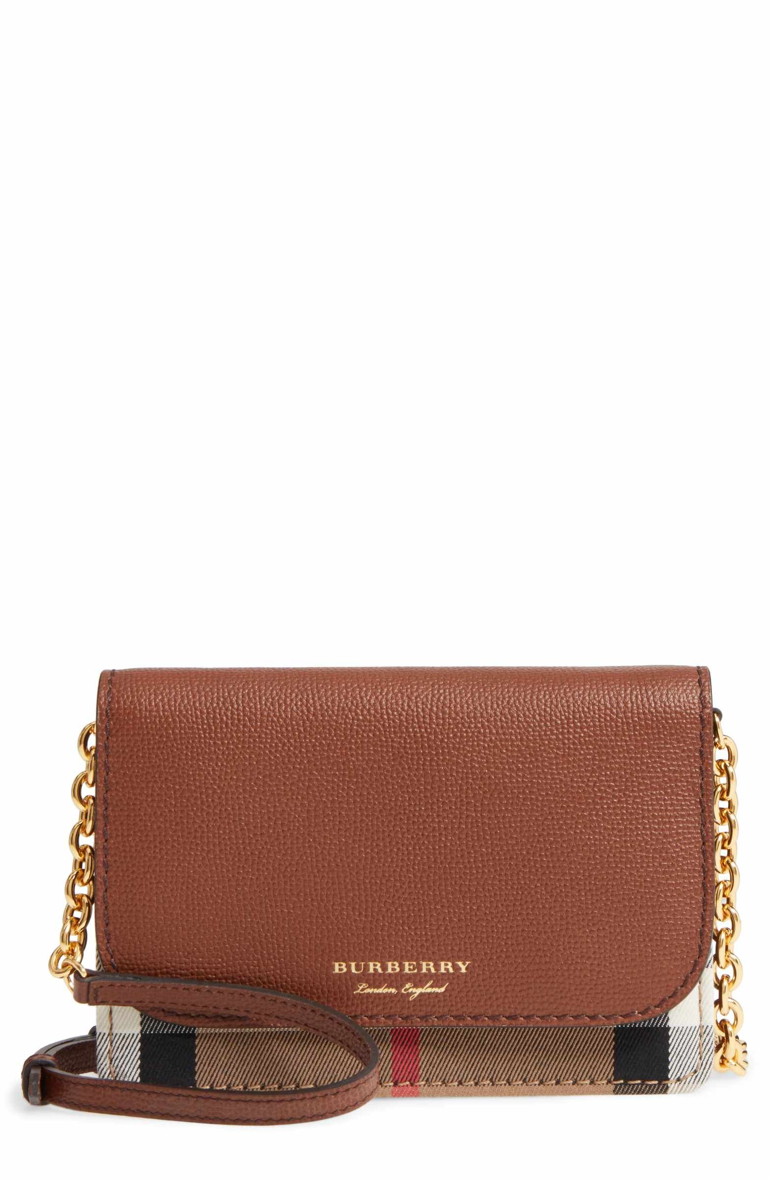 327e07dd74 Main Image - Burberry Hampshire House Check & Leather Wallet on a Chain