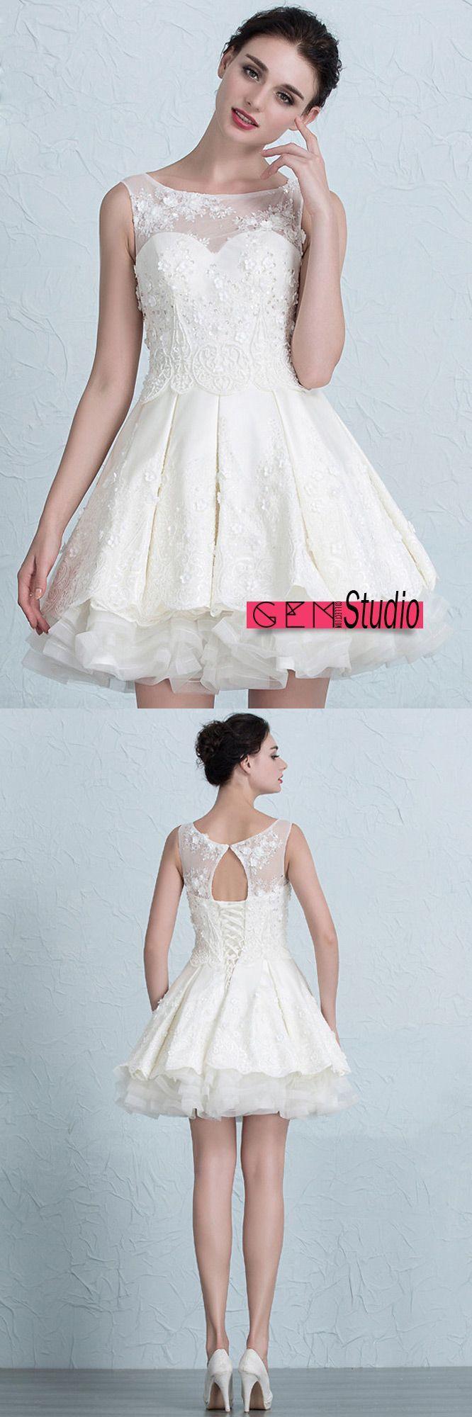 Dresses for wedding reception for bride  Lace Short Wedding Dresses  Summer ALine Scoop Neck Short Satin