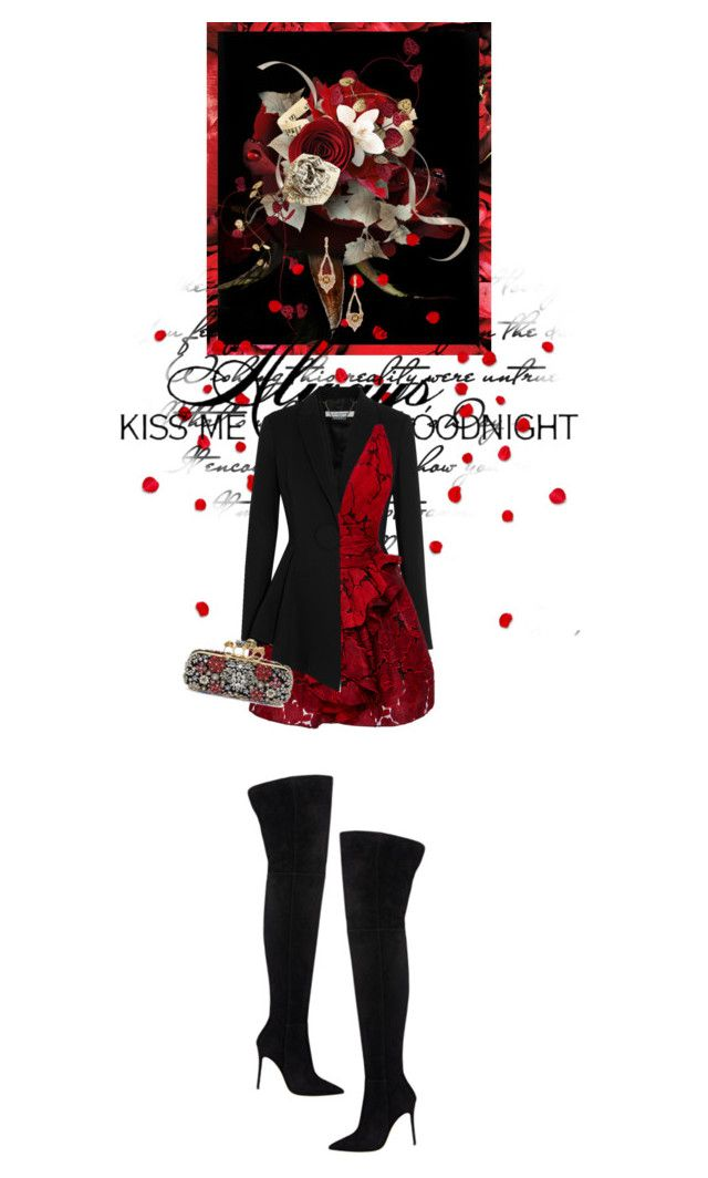 """Hot Red Dress"" by fashionbrownies ❤ liked on Polyvore featuring Love Quotes Scarves, Givenchy, Marchesa, Gianvito Rossi, Alexander McQueen, Suneera, women's clothing, women, female and woman"