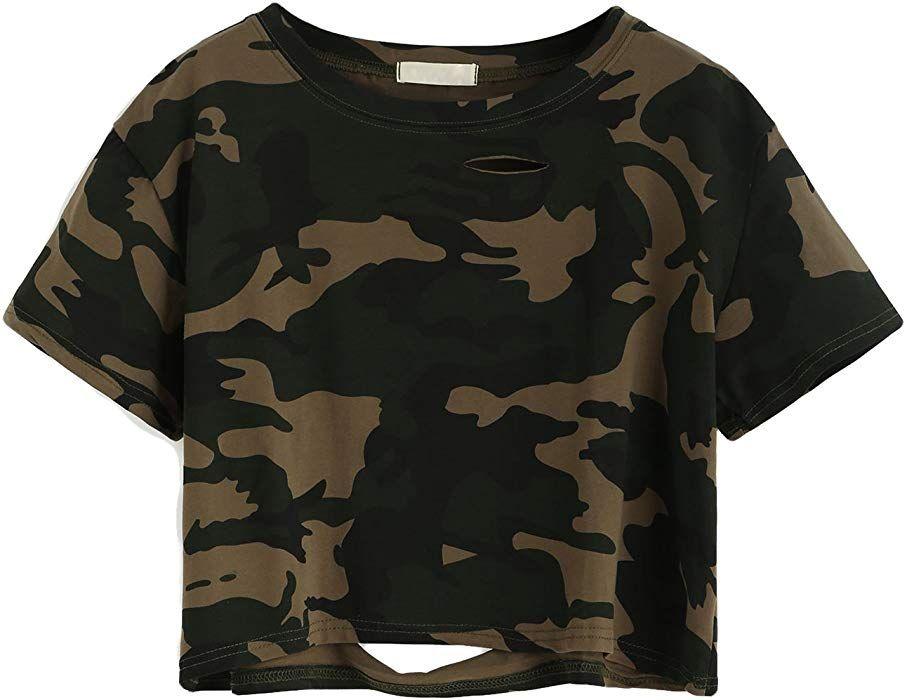 1afdcefa42fb5 SweatyRocks Tshirt Camo Print Distressed Crop T-Shirt (Medium