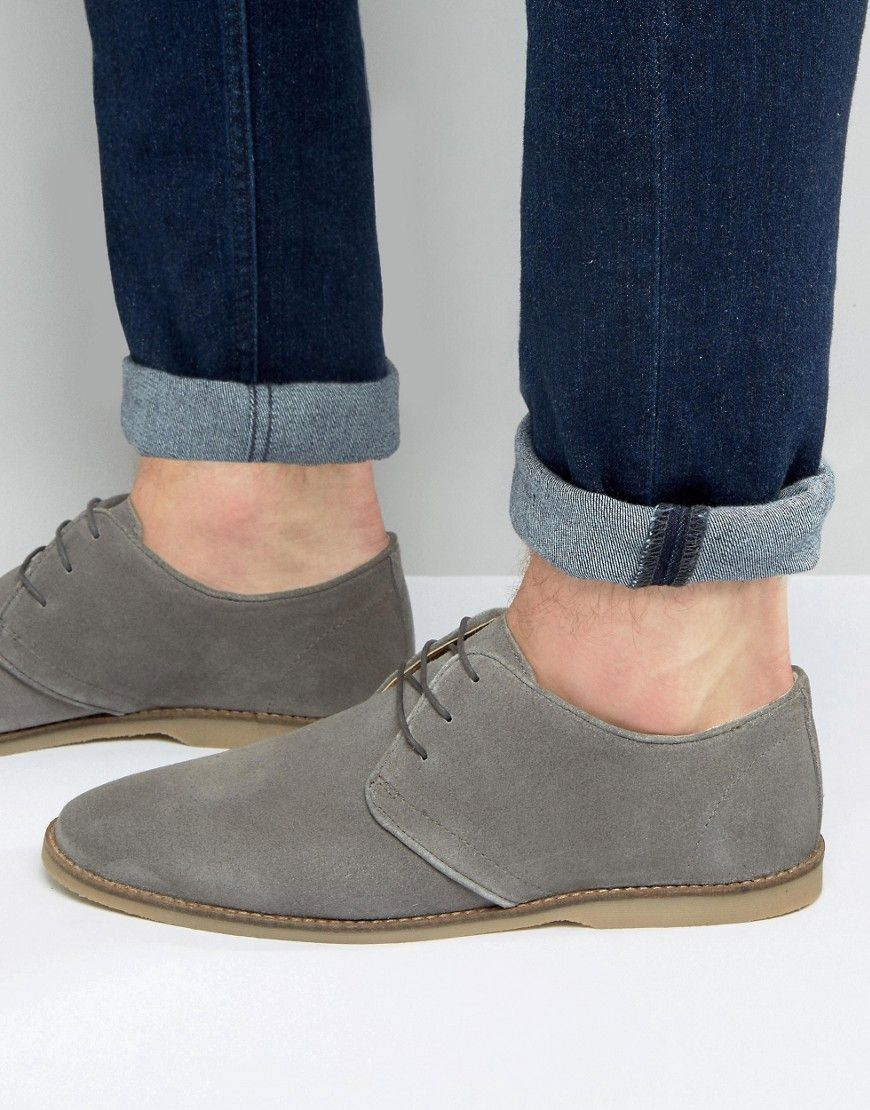 ASOS Derby Shoes In Gray Suede With