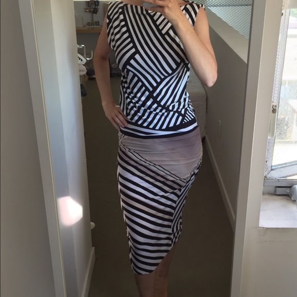 NWOT stunning gradient design stripe ruched dress Beautiful custom made jersey dress • Black and white striped pattern • Beige gradient geometric design on the side • boat neck with subtle cap sleeve  • Tucking at hip  • Falls below knee • In the style of Helmut Lang  • Super comfortable rayon stretch jersey  • Very chic print! Never worn! Dresses Midi