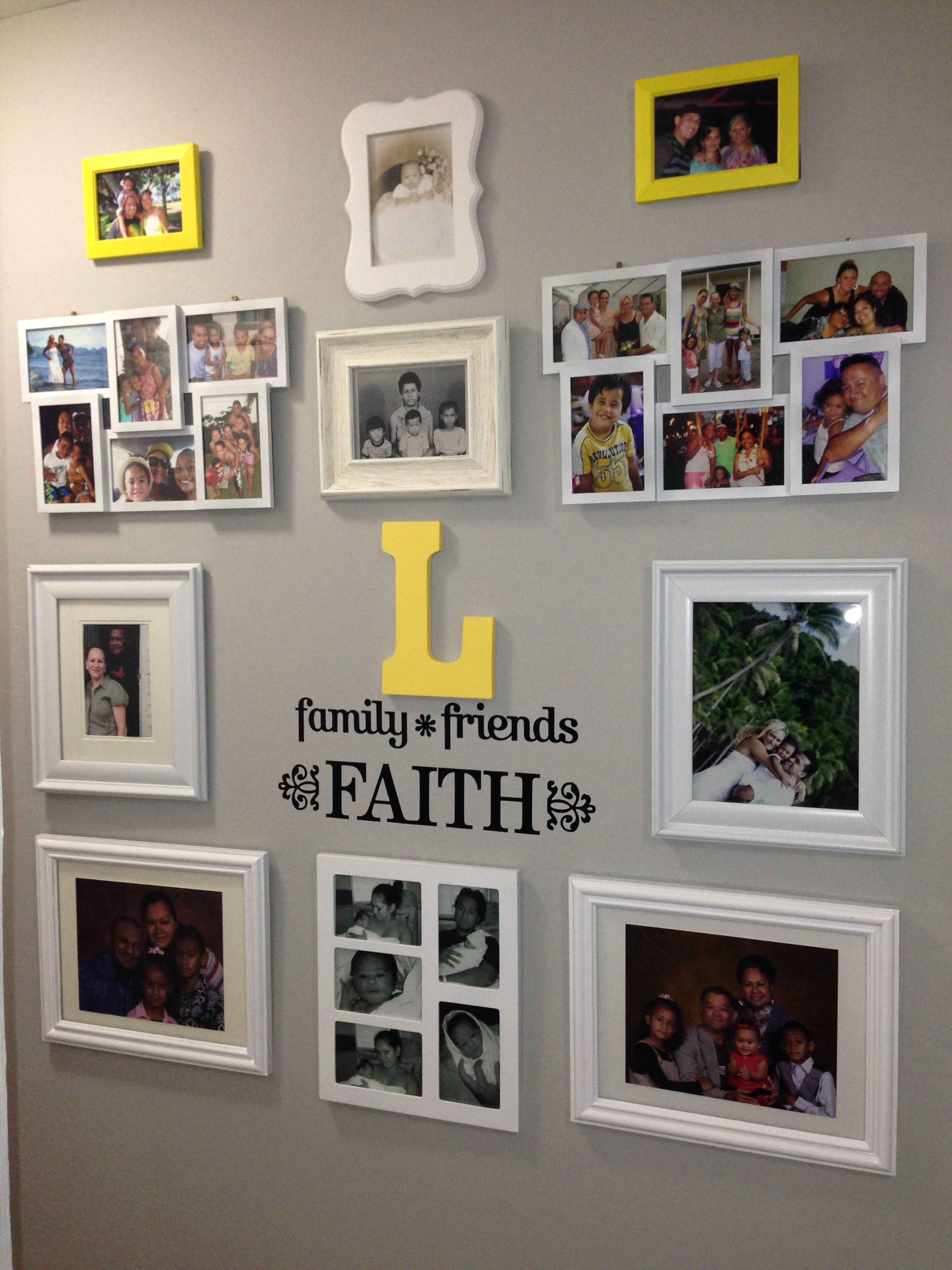 Gallery Wall Random Frames Spray Painted White And Yellow Letter