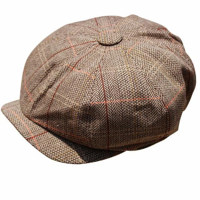 8a4227e63 HERRINGBONE TWEED GATSBY Newsboy Cap grid boina french beret hat men ...