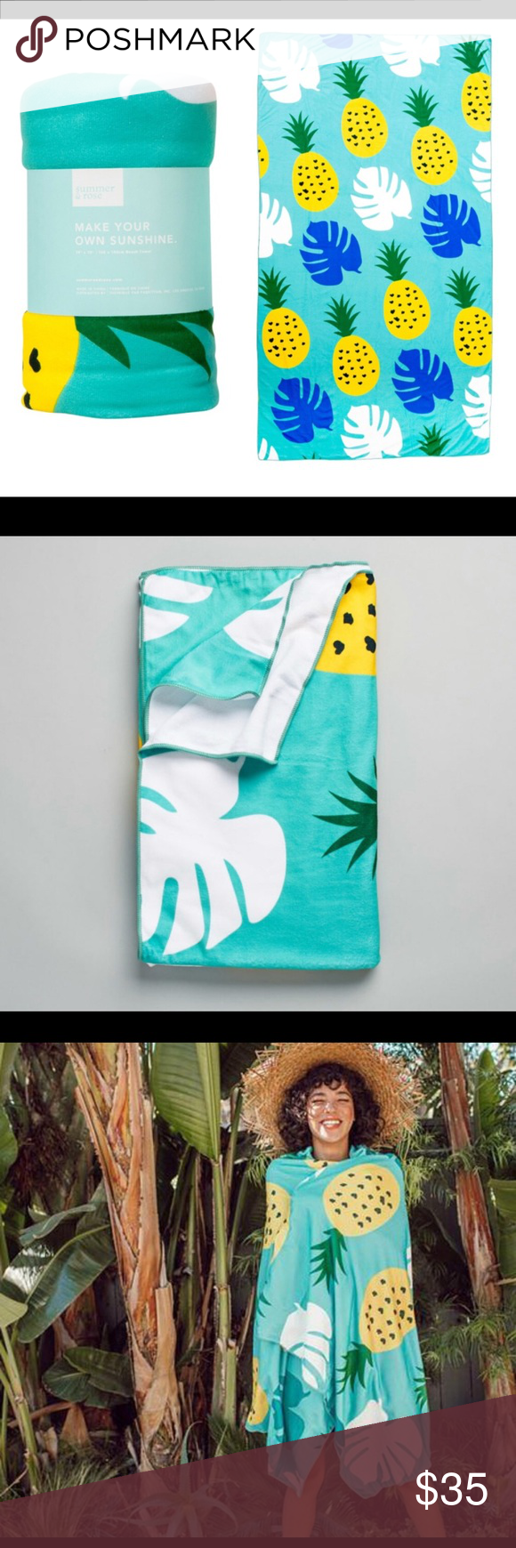 Summer Rose Pineapple Large Beach Towel Fff New Nwt In 2018 My
