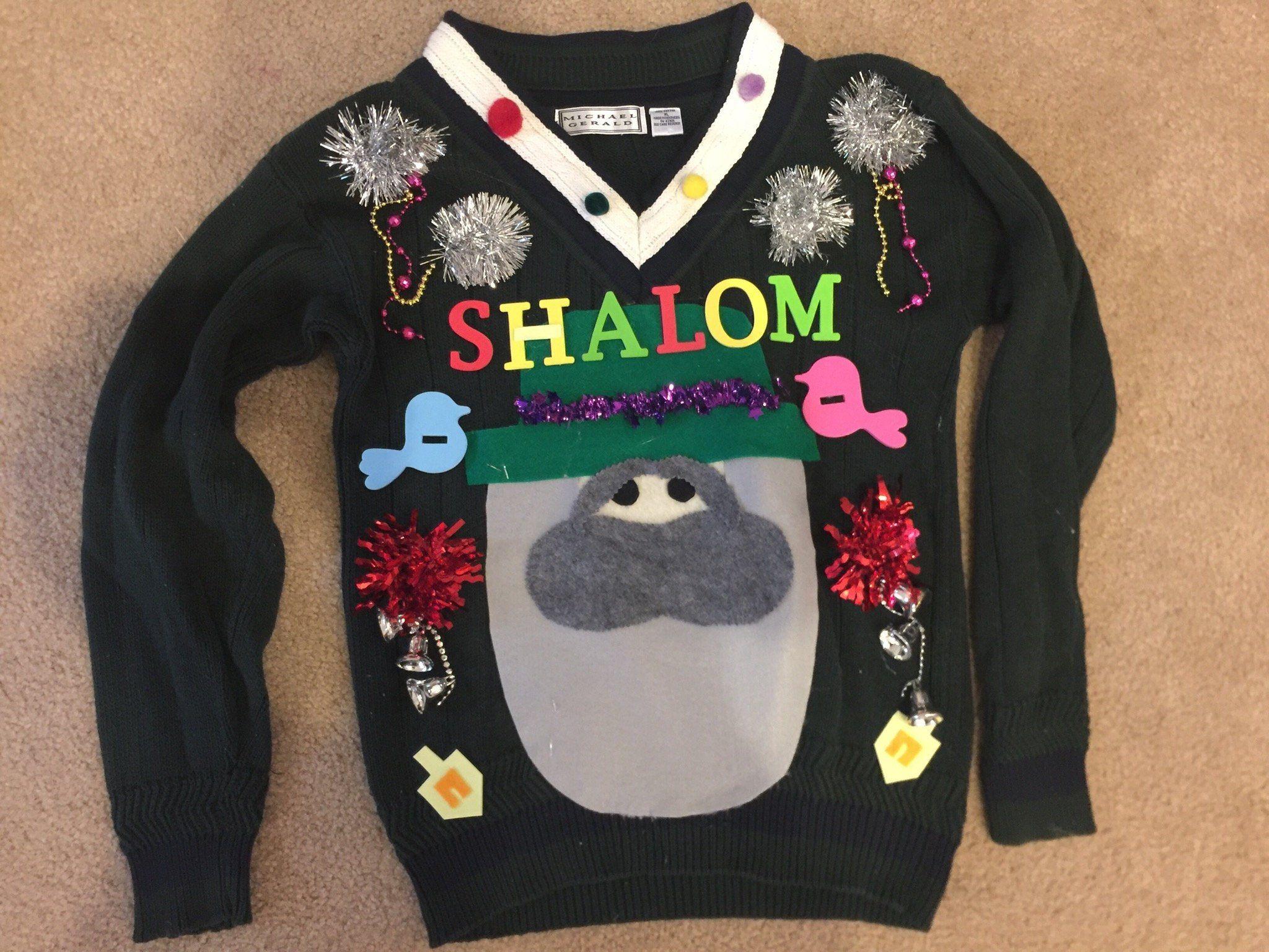 Jewish Christmas Sweater.Deb Jewish Hanukkah Funny Ugly Christmas Sweater Shalom Mens