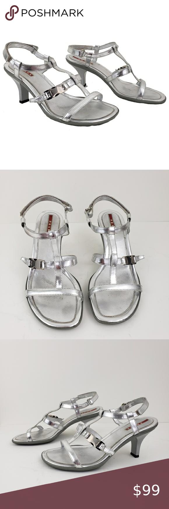 Prada Sport Silver Strappy Kitten Heel Sandals 37 In 2020 Kitten Heel Sandals Sandals Heels T Strap Sandals