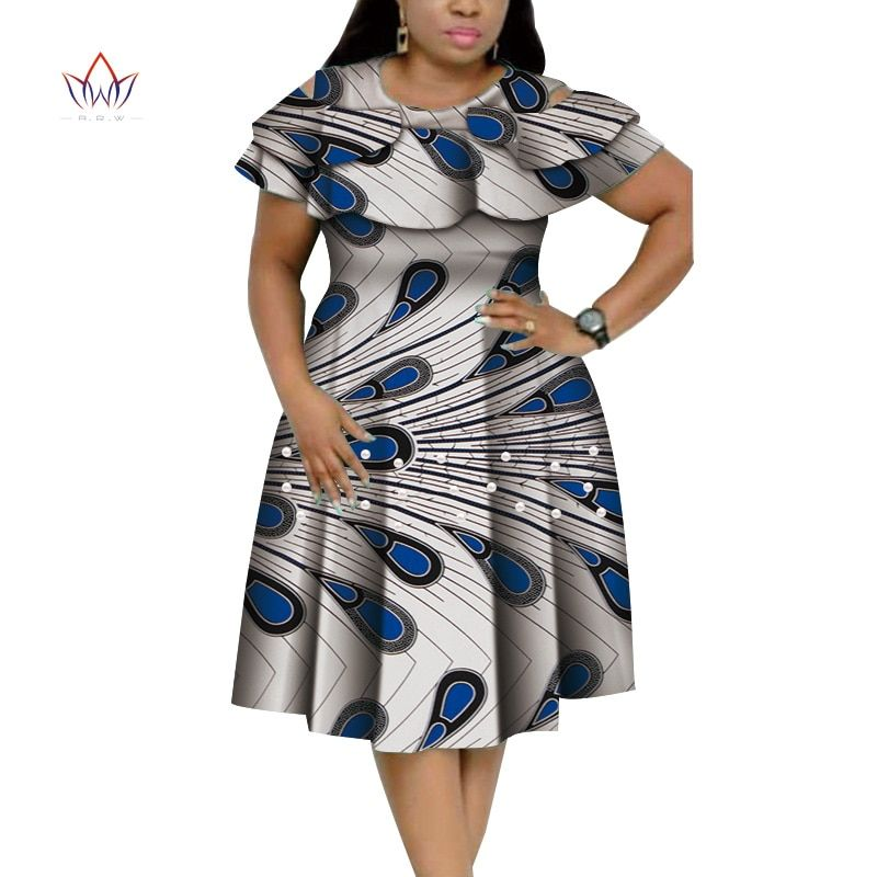 New Bazin Riche African Ruffles Collar Dresses for Women Dashiki Print Pearls Dresses Vestidos Women African Clothing WY4401
