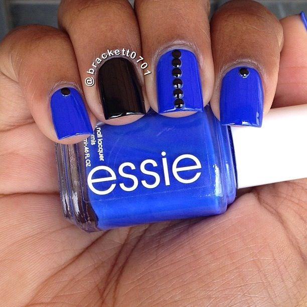 Royal blue essie nail polish with black details | Uñas | Pinterest ...